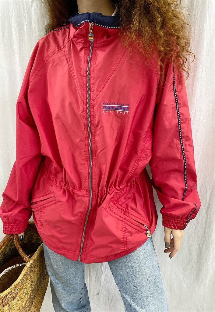 Vintage 90s retro oversized parka jacket in red