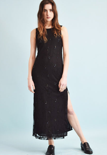 90's retro grunge shimmer foral embroidery maxi dress
