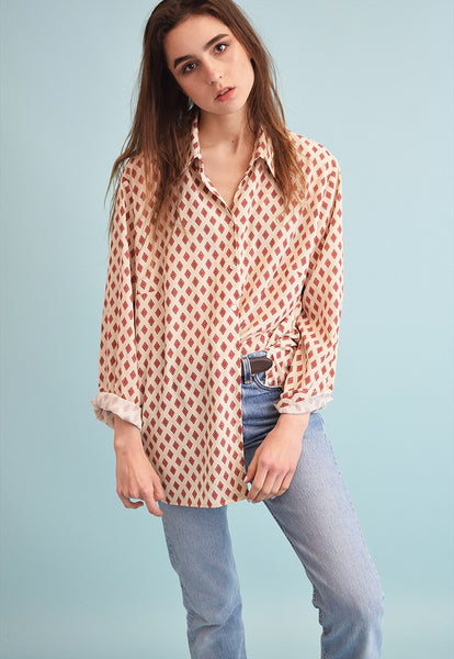 90's retro neutral abstract print oversized Moms shirt top