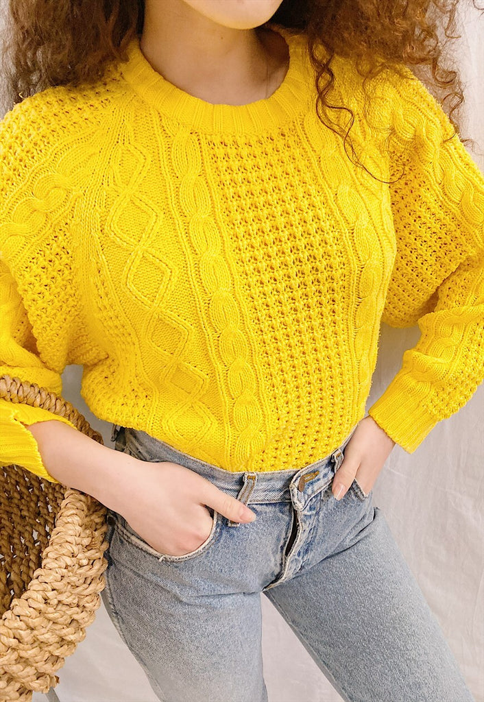 Vintage 80s Citrus Boheme chunky knit jumper sweater yellow