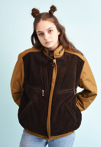 90's retro athleisure puffer corduroy detailed bomber jacket