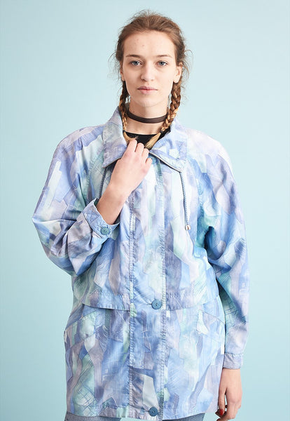 90's retro pastel abstract print athleisure jacket parka