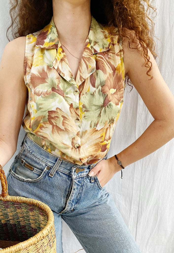 Vintage 80s Botanica Abstract floral print Boheme blouse top