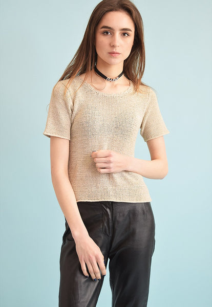 90's retro minimalist neutral knitted Moms top