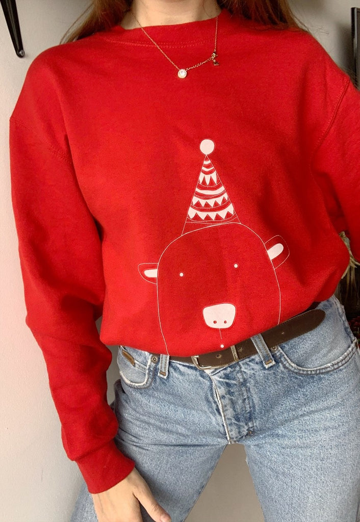 Vintaholic Christmas bear novelty sweatshirt Jumper red