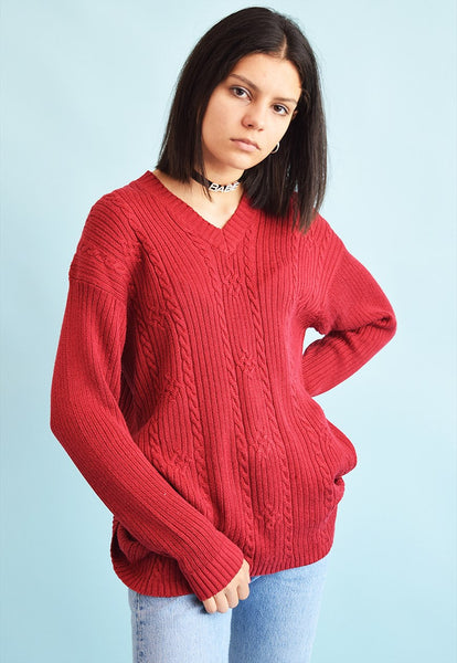 Vintage 90's retro Aran style knitted Moms jumper top