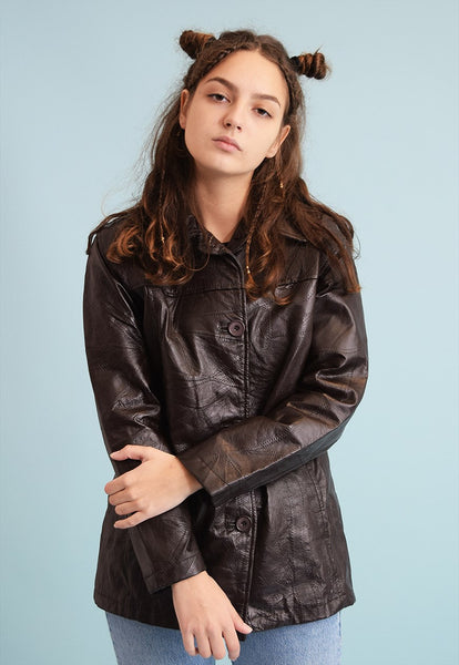 90's retro faux patchwork leather trench statement jacket