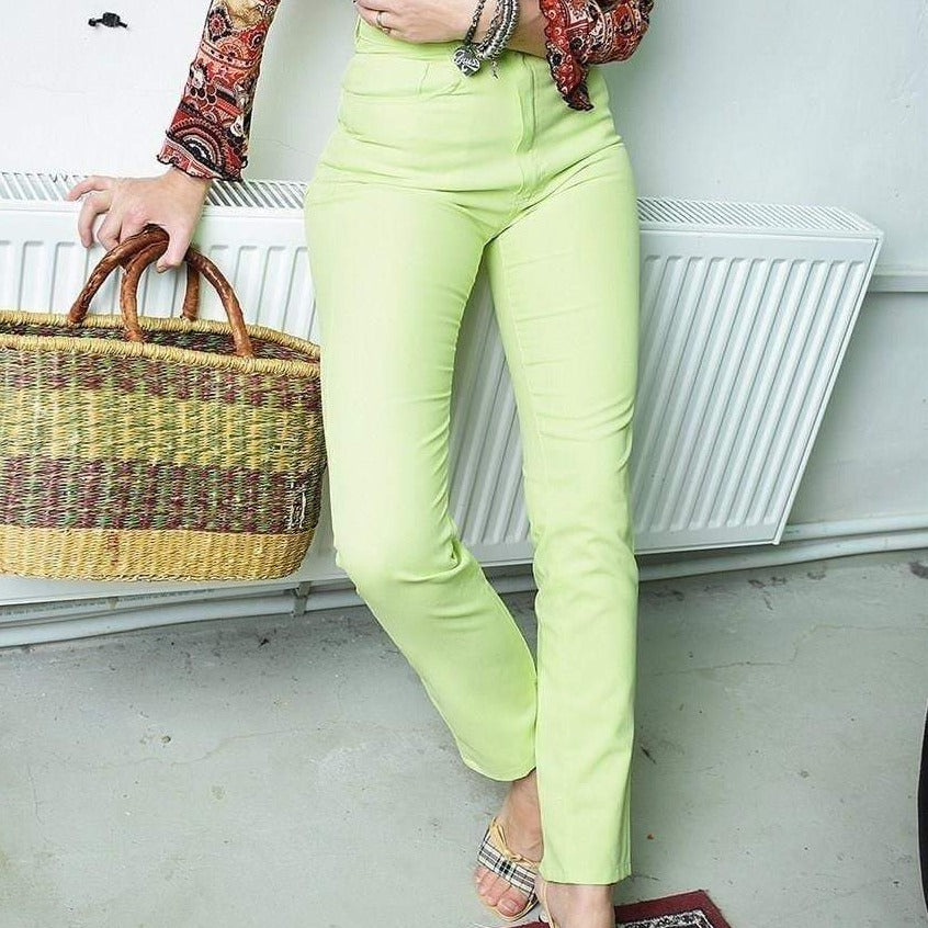 Vintage 90's retro high waist lime green skinny trousers