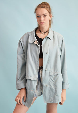 90's retro pastel oversized thin parka jacket