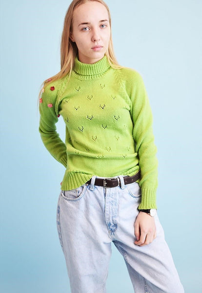 70's retro crochet floral applique knitted jumper top