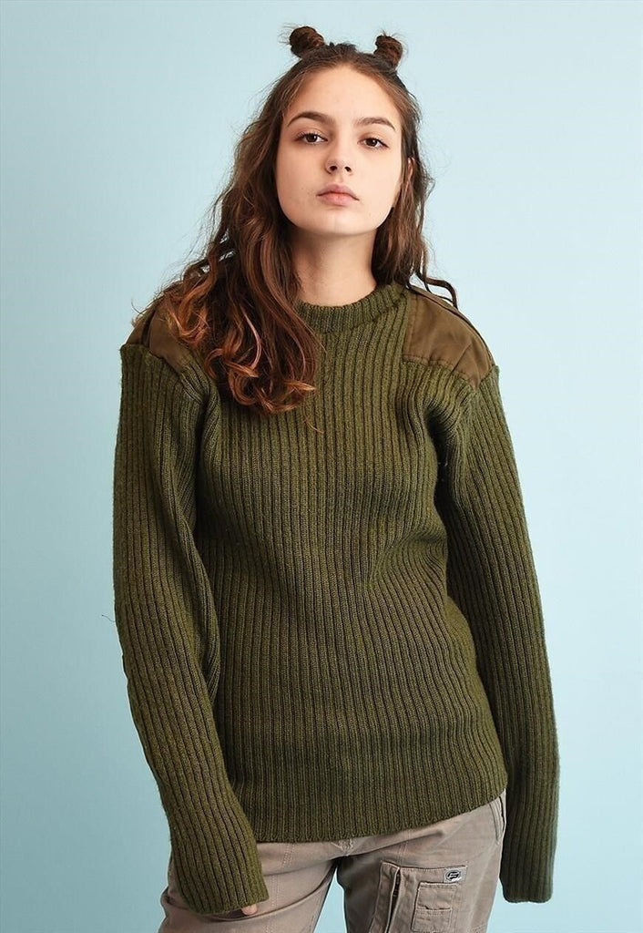 80's retro wool military style knit jumper