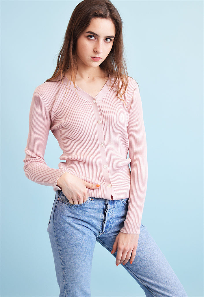 90's retro pastel ribbed knit Moms cardigan top