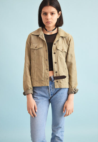 90's retro Boho faux suede embroidery jacket top