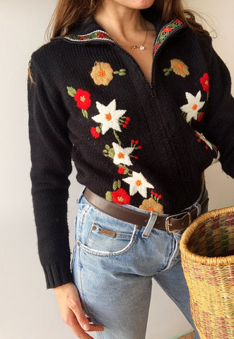 Vintage 90s Countryside floral embroidered knit jumper cardi
