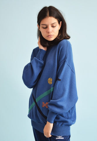 90's retro oversized embroidery Dads woolen knit jumper