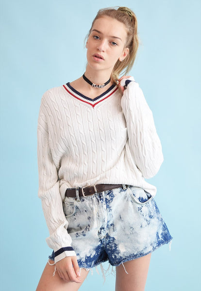 90's retro knit oversized cricket jumper top