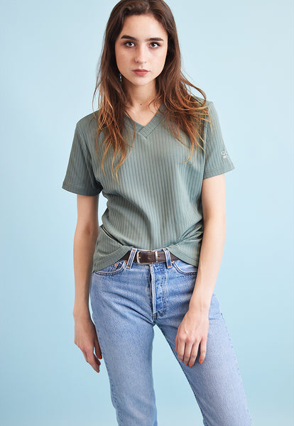 90's retro grunge ribbed stretch t-shirt tee top