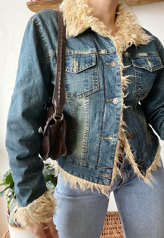 Vintage Y2K 00s faux fur trimmed denim jacket