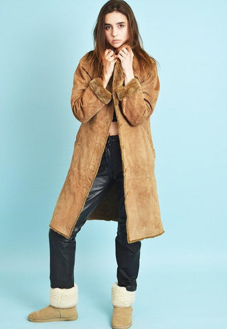 90's retro faux fur & real suede shearling sherp coat