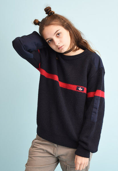 90's retro Dads navy blue wool knit jumper