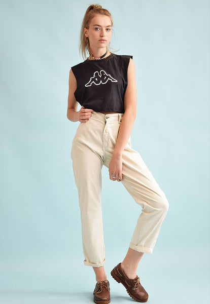 90's retro neutral high waist straight trousers