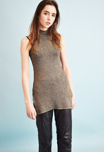 90's retro grunge sparkling knitted turtleneck tunic top