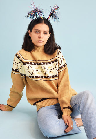90's retro neutral Folk pattern knit Christmas jumper