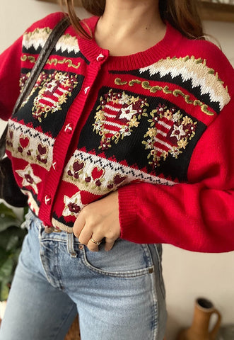 Vintage 80s Fair Isle pattern long Christmas jumper cardigan