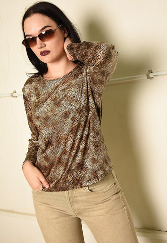 Vintage Y2K grunge animal print velvet top blouse