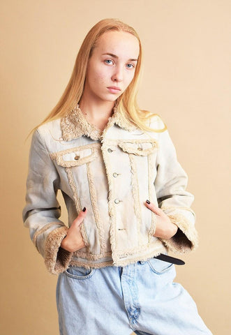 90's retro denim neutral sherpa shearling jacket