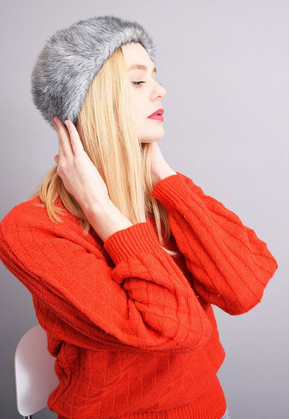 Vintage 80's faux fur winter Boho hat in grey