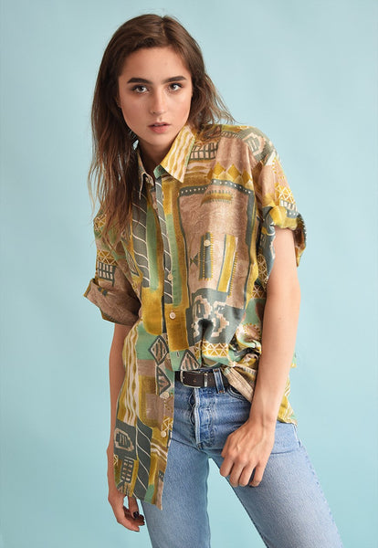 90's retro ethnic print linen oversized Dads blouse top