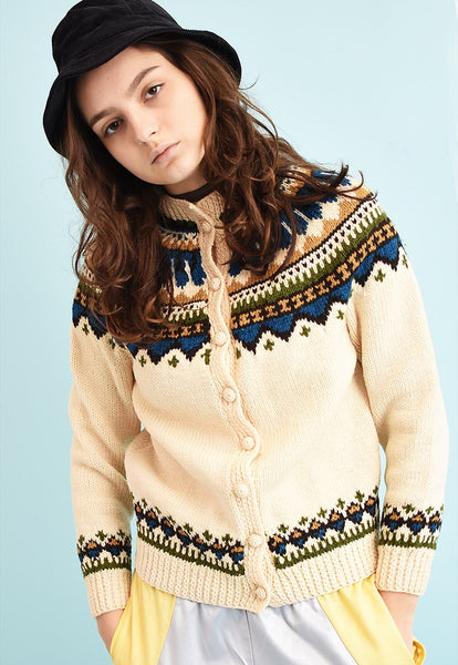 70's retro Icelandic Fair Isle wool knit cardigan