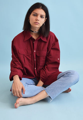 90's retro burgundy minimalist oversized shirt top