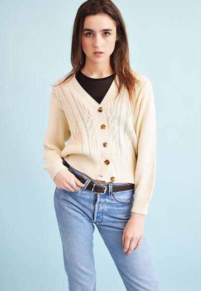90's retro neutral knitted Moms cardigan top