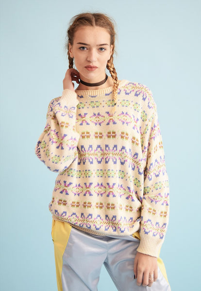 90's retro Fair Isle pattern creamy neutral knit jumper