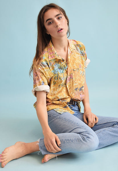 90's retro slogan print festival oversized Dads blouse top