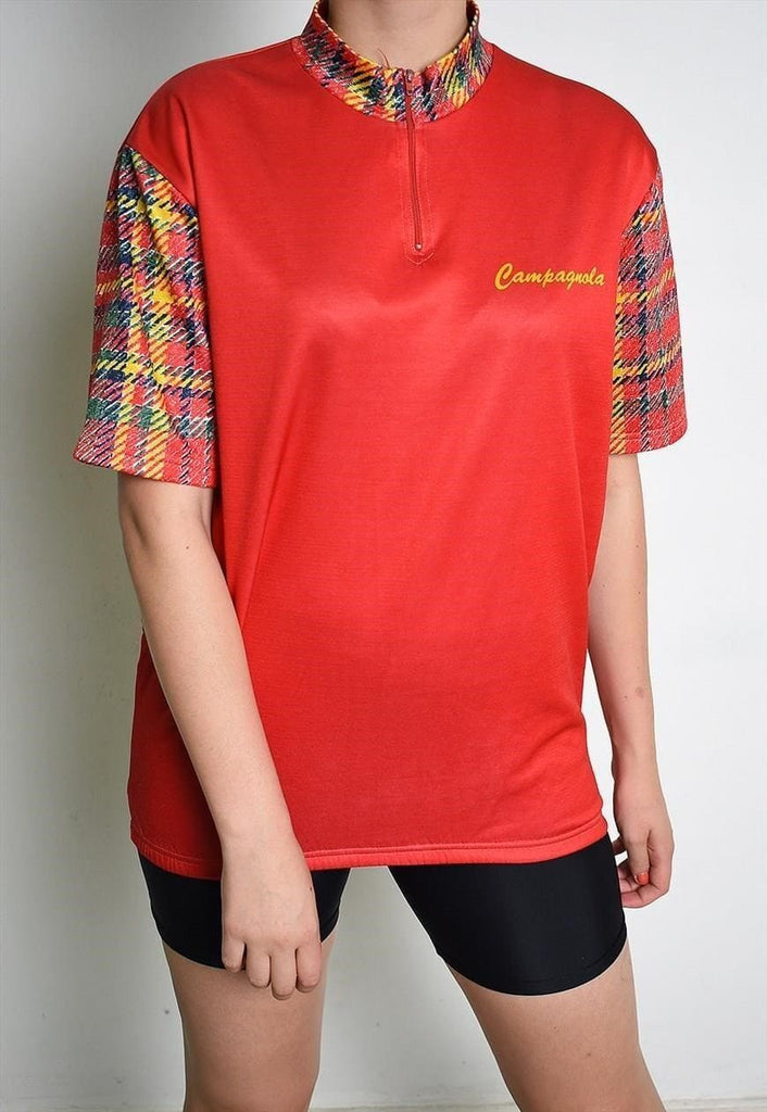 90's retro oversized sports tartan print t-shirt top tee
