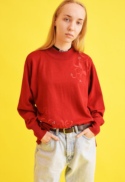 90's retro embroidery oversized knit Moms jumper top