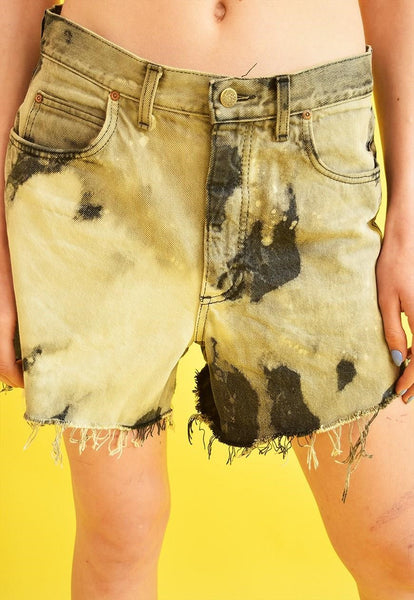 90's retro LEE acid wash distressed customized denim shorts