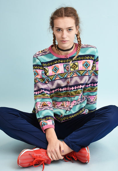 80's retro athleisure sports ethnic print sweatshirt jumper