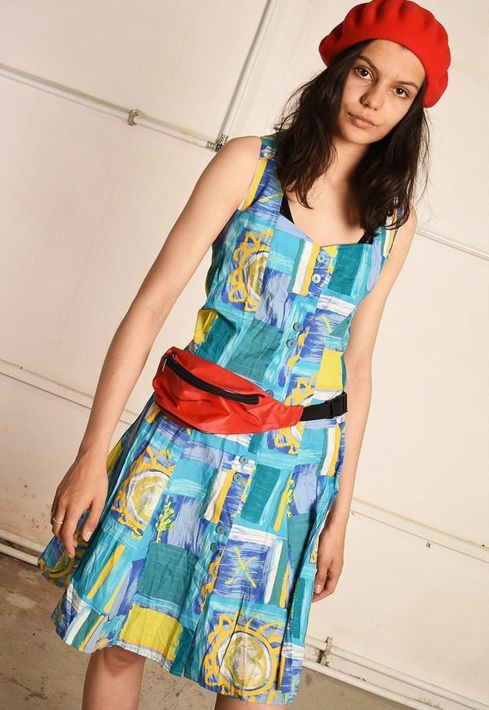 90's retro abstract print mini festival dress