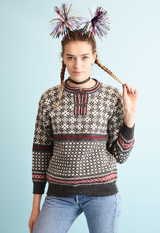 80's retro Nordic Fair Isle wool knit Christmas jumper