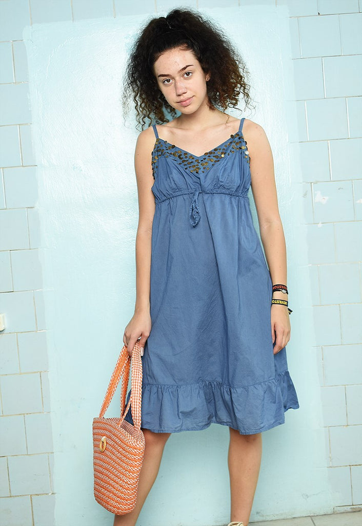 Vintage Y2K Boho hippie festival midi summer dress blue