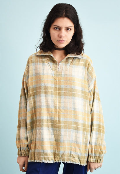 90's retro athleisure sports plaid sweatshirt jumper