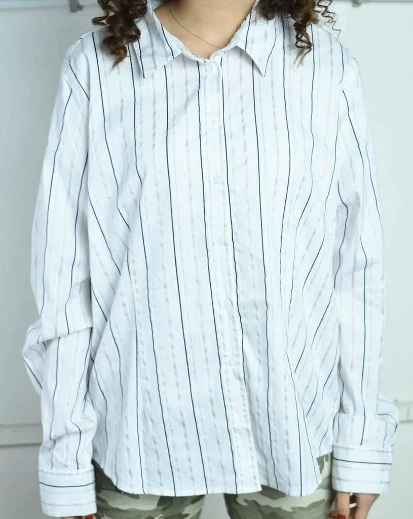 Vintage 90's retro oversized striped neutral shirt top