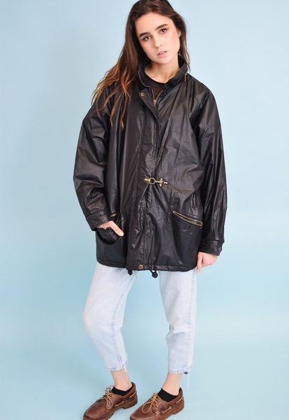 90's retro oversized Boyfriends glossy parka jacket