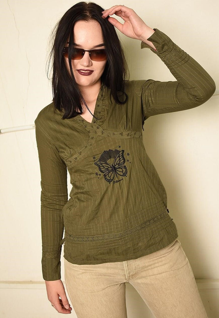 Vintage Y2K embroidered Boho tunic top in khaki green