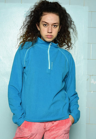 Vintage Y2K turquoise 1/4 zip fleece sweatshirt jumper