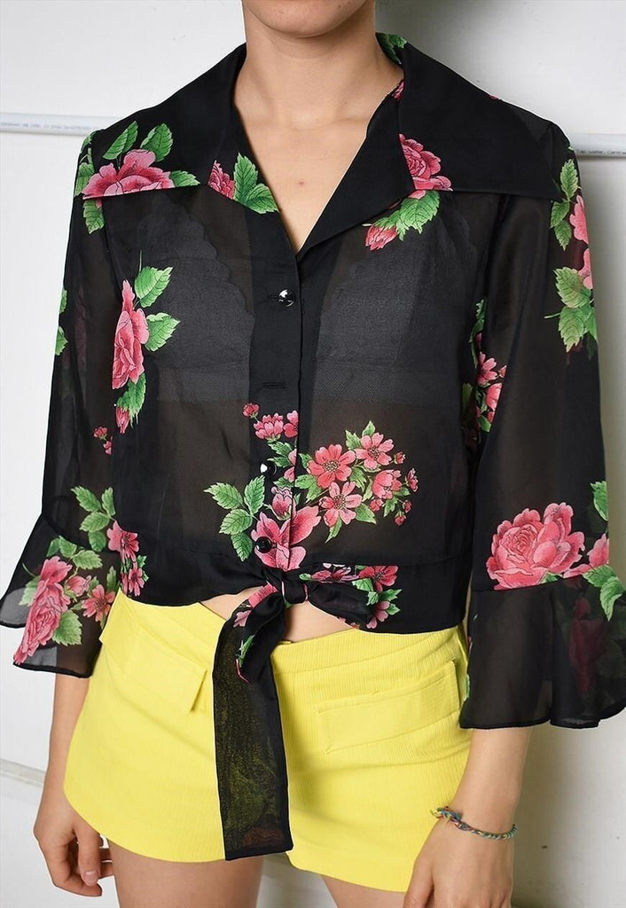 Vintage 70s Paris chic sheer blouse top with floral print